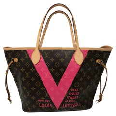 Louis Vuitton Neverfull MM Limited Edition V Pink Brown