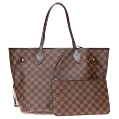 Louis Vuitton Neverfull MM Tote in brown damier canvas with pouch