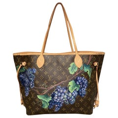 Louis Vuitton Neverfull MM with Hand Painted Grapes