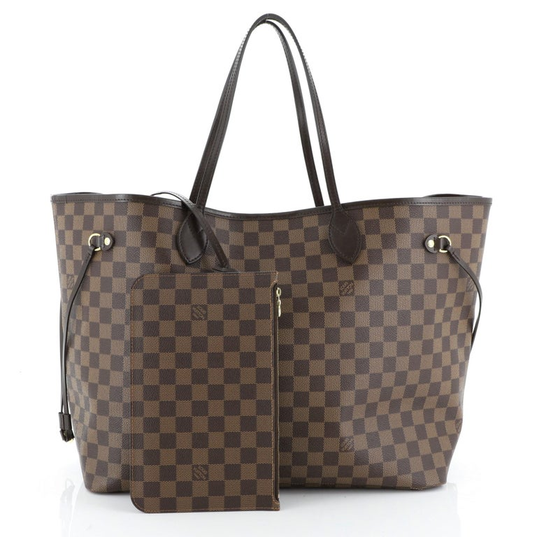 This Louis Vuitton Neverfull NM Tote Damier GM, crafted in damier ebene coated canvas, features dual slim handles, side laces, and gold-tone hardware. Its wide open top showcases a red fabric interior with side zip pocket. Authenticity code reads: