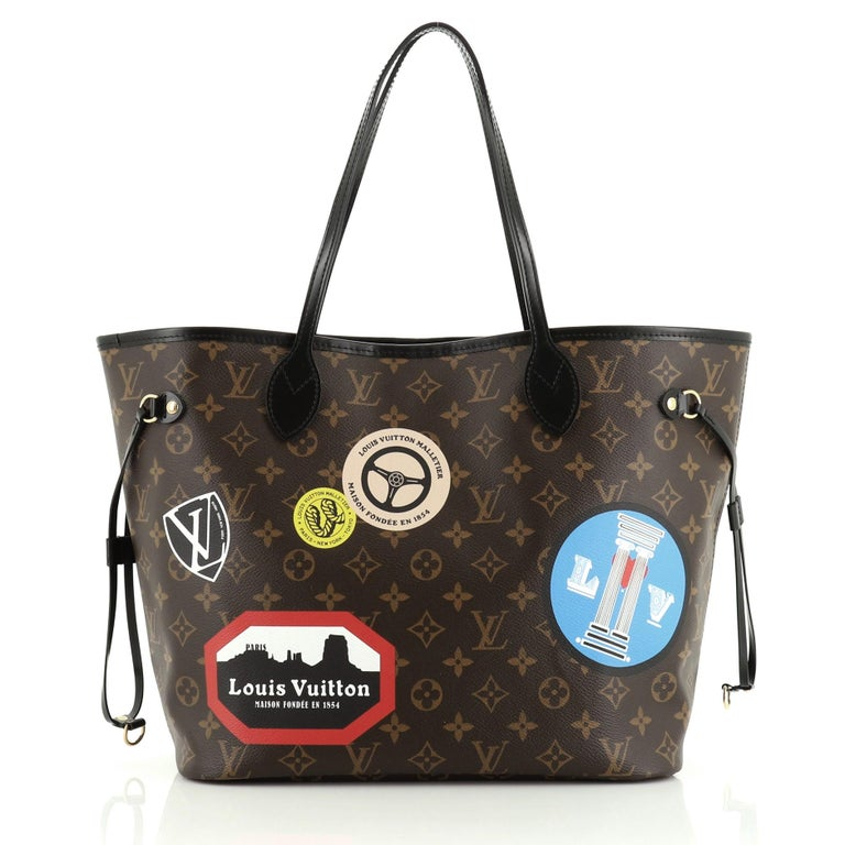 This Louis Vuitton Neverfull NM Tote Limited Edition World Tour Monogram Canvas MM, crafted in brown monogram coated canvas, features dual slim handles, World Tour-themed stickers, side drawstrings and gold-tone hardware. Its hook closure opens to a