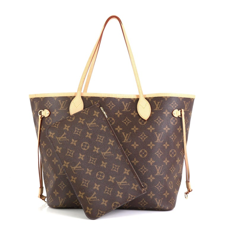This Louis Vuitton Neverfull NM Tote Monogram Canvas MM, crafted in brown monogram coated canvas, features dual slim handles, side drawstrings, and gold-tone hardware. Its hook closure opens to a brown fabric interior with side zip pocket.