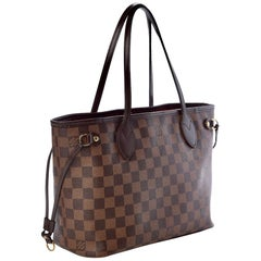 Louis Vuitton Neverfull PM Tote Bag - Damier Ebene   Canvas Tote, Red Interior