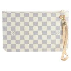 Louis Vuitton Neverfull Pochette Damier 6lr0606 Azur Coated Canvas Wristlet