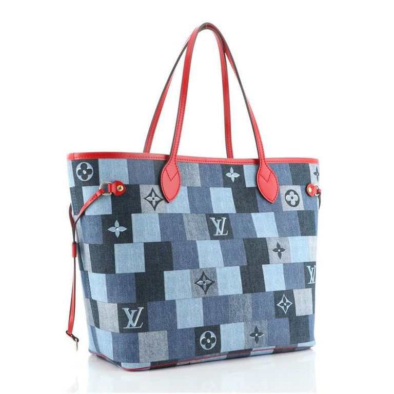 Louis Vuitton Neverfull Tote Damier and Monogram Patchwork Denim MM In Good Condition For Sale In New York, NY