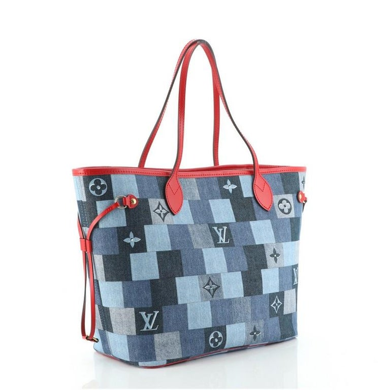 Gray Louis Vuitton Neverfull Tote Damier and Monogram Patchwork Denim MM For Sale