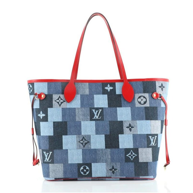 Women's or Men's Louis Vuitton Neverfull Tote Damier and Monogram Patchwork Denim MM For Sale
