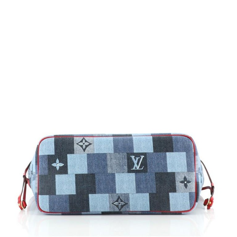 Louis Vuitton Neverfull Tote Damier and Monogram Patchwork Denim MM For Sale 1