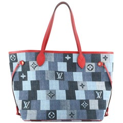 Louis Vuitton Neverfull Tote Damier and Monogram Patchwork Denim MM
