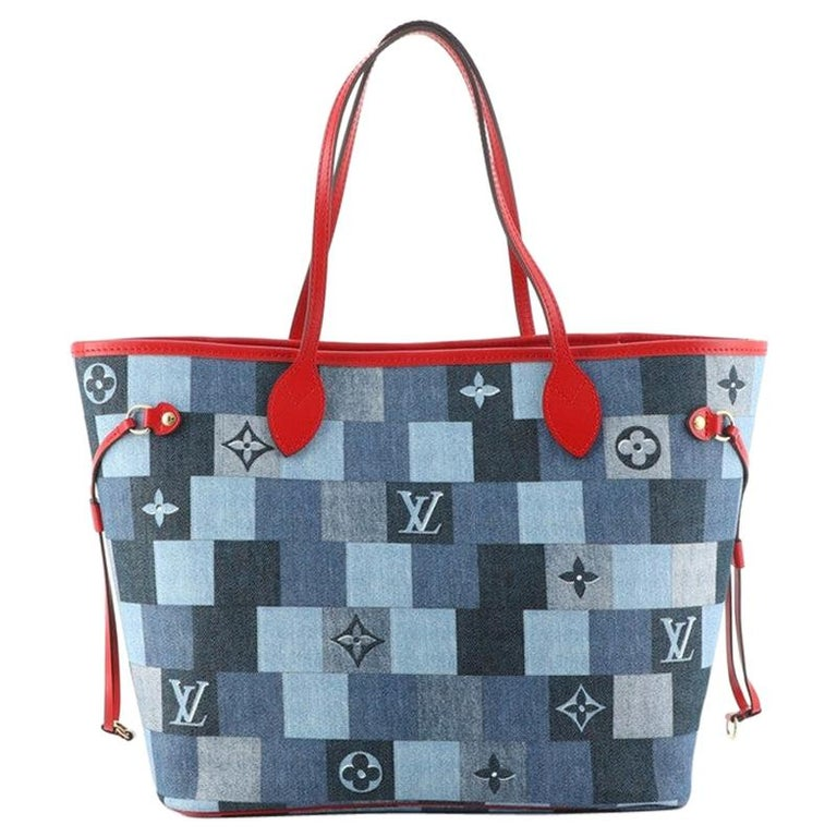 Louis Vuitton Neverfull Tote Damier and Monogram Patchwork Denim MM For Sale