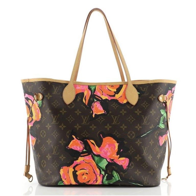 Black Louis Vuitton Neverfull Tote Limited Edition Monogram Roses MM For Sale