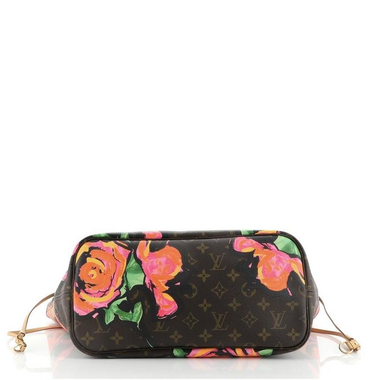 Louis Vuitton Neverfull Tote Limited Edition Monogram Roses MM In Good Condition For Sale In New York, NY
