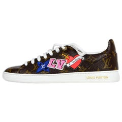 Louis Vuitton New 2018 Monogram Frontrow Patchwork Sneakers sz 37.5