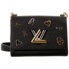 Louis Vuitton NEW Black Leather Gold Logo Charm Small Evening Shoulder Flap Bag