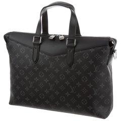 Louis Vuitton NEW Black Mono Men's Women's Top Handle Business Satchel Bag w/Box