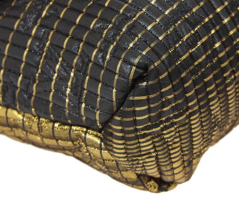 Louis Vuitton NEW Black Monogram Leather Gold Fold Envelope Evening Clutch Bag For Sale 1
