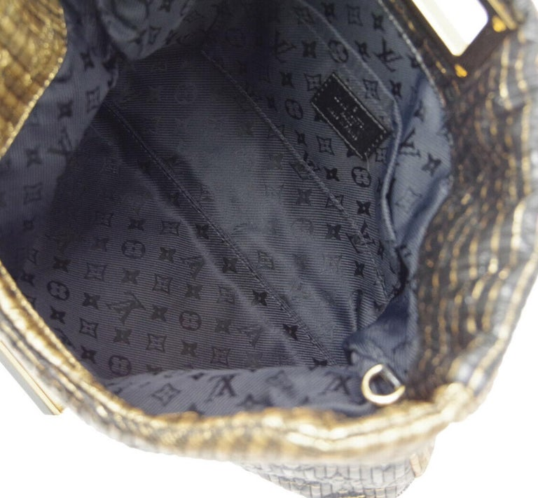 Louis Vuitton NEW Black Monogram Leather Gold Fold Envelope Evening Clutch Bag For Sale 2