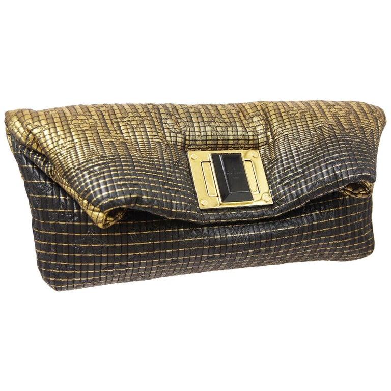 Louis Vuitton NEW Black Monogram Leather Gold Fold Envelope Evening Clutch Bag For Sale