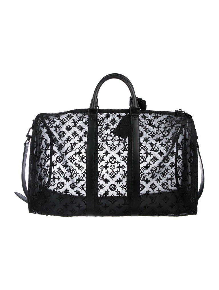 Louis Vuitton NEW Black Monogram Mesh Large Carryall Weekender Duffle Men's Bag In New Condition For Sale In Chicago, IL