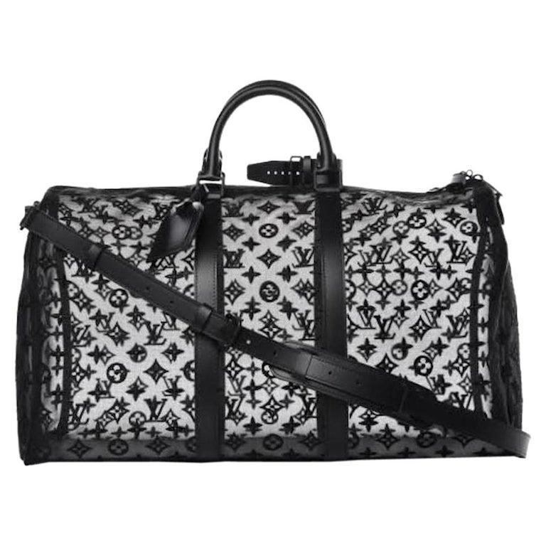 Louis Vuitton NEW Black Monogram Mesh Large Carryall Weekender Duffle Men's Bag For Sale