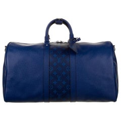 Louis Vuitton NEW Blue Men's Women's Carryall Travel Weekender Duffle Bag