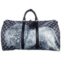 Louis Vuitton NEW Blue Mono Men's Women's Top Handle Travel Duffle Bag in Box