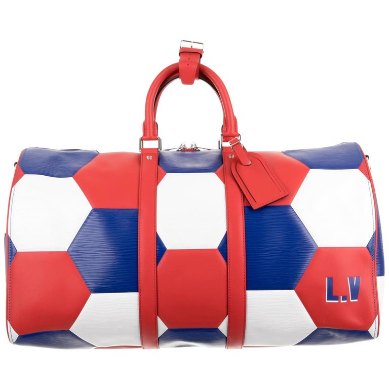 Louis Vuitton NEW Blue Red White Large Carryall Weekender Duffle Men's Bag
