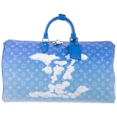Louis Vuitton NEW Blue White Men's Women's Carryall Travel Weekender Duffle Bag