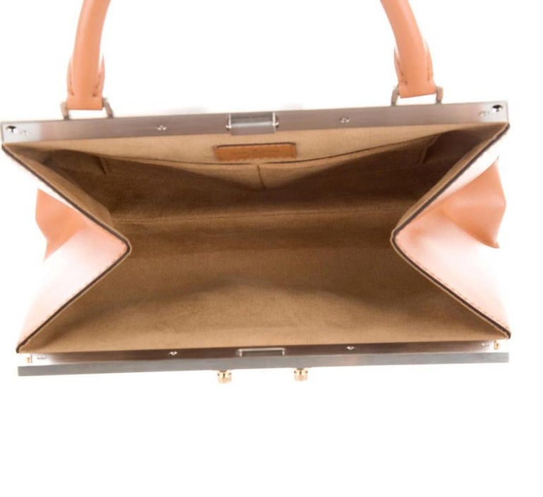 Women's Louis Vuitton NEW Brown Cognac Trunk Top Handle Kelly Style Shoulder Bag in Box For Sale