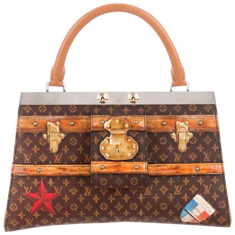 Louis Vuitton NEW Brown Cognac Trunk Top Handle Kelly Style Shoulder Bag in Box For Sale