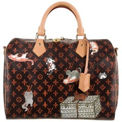 Louis Vuitton NEW Brown Orange Red Mono Cat Speedy 30 Top Handle Shoulder Bag