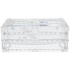 Louis Vuitton NEW Clear Crystal Trunk Desk Table Decorative Paperweight in Box