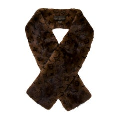 Louis Vuitton NEW Dark Brown Black Mink Fur Silk Men's Women's Logo Neck Scarf