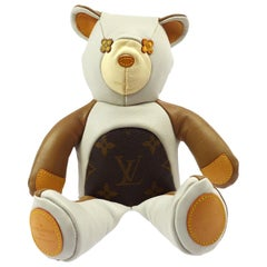 Louis Vuitton NEW Ivory Brown Monogram Canvas Leather Toy Novelty Teddy Bear