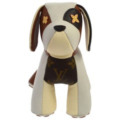 Louis Vuitton NEW Ivory Brown Monogram  Leather Toy Novelty Puppy Pet in Box
