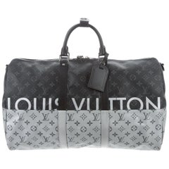 Louis Vuitton NEW Monogram Black Silver Top Handle Men's Travel Duffle Bag