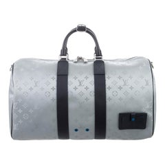 Louis Vuitton NEW Monogram Blue Silver Top Handle Men's Travel Duffle Bag