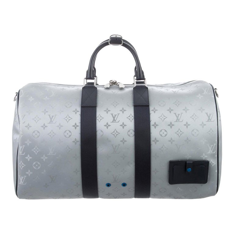 Louis Vuitton NEW Monogram Blue Silver Top Handle Men's Travel Duffle Bag For Sale