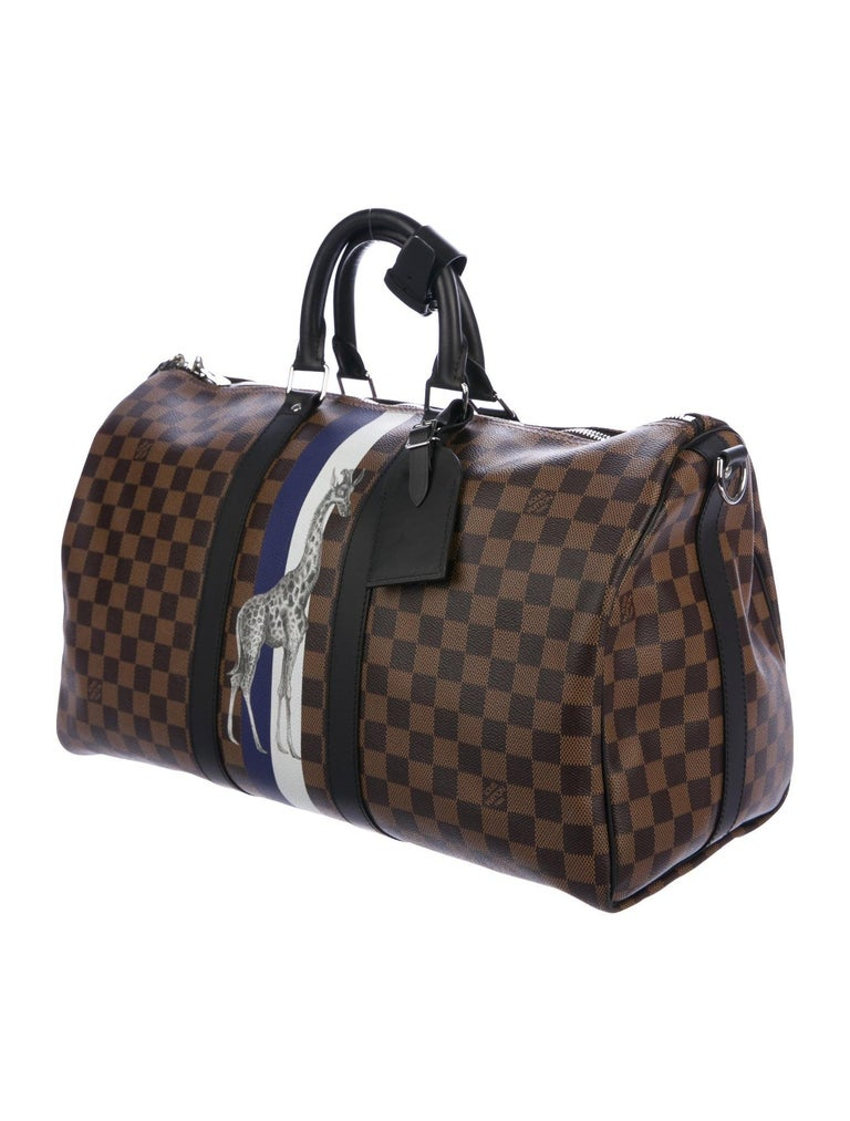 Louis Vuitton NEW Monogram Brown Keepall Top Handle Men's Women's Travel Duffle Bag  Monogram canvas  Leather Silver-tone hardware Woven lining Zipper closure Made in France Handle drop 4