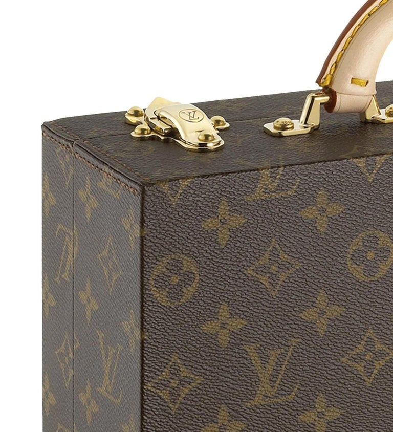 Monogram canvas Leather Gold tone hardware Date code present Made in France Handle drop 2