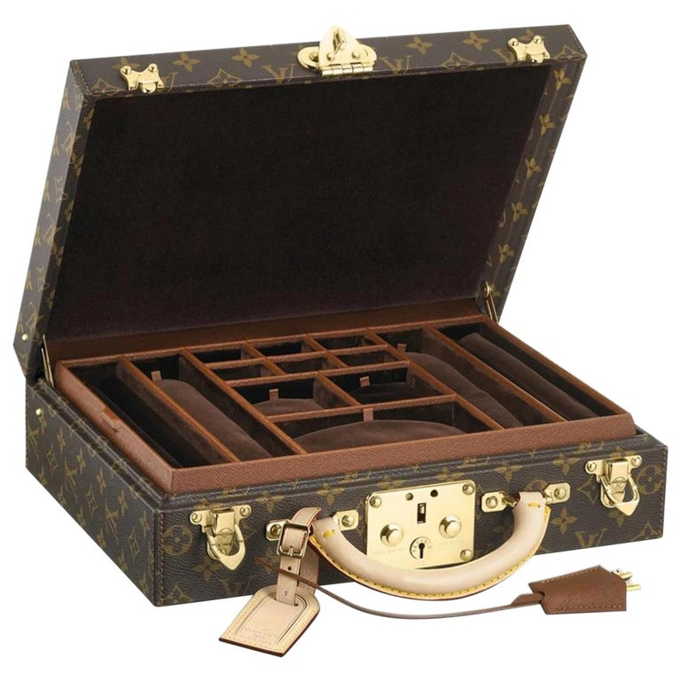 Louis Vuitton NEW Monogram Men's Women's Jewelry Watch Vanity Travel Trunk Case For Sale
