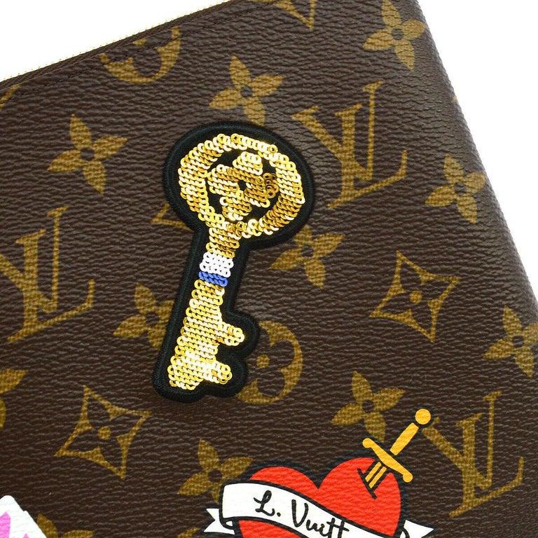Black Louis Vuitton NEW Monogram Patch Sticker Envelope Pouch Clutch Wristlet in Box