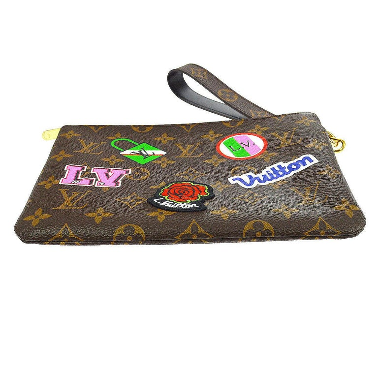 Louis Vuitton NEW Monogram Patch Sticker Envelope Pouch Clutch Wristlet in Box In New Condition In Chicago, IL