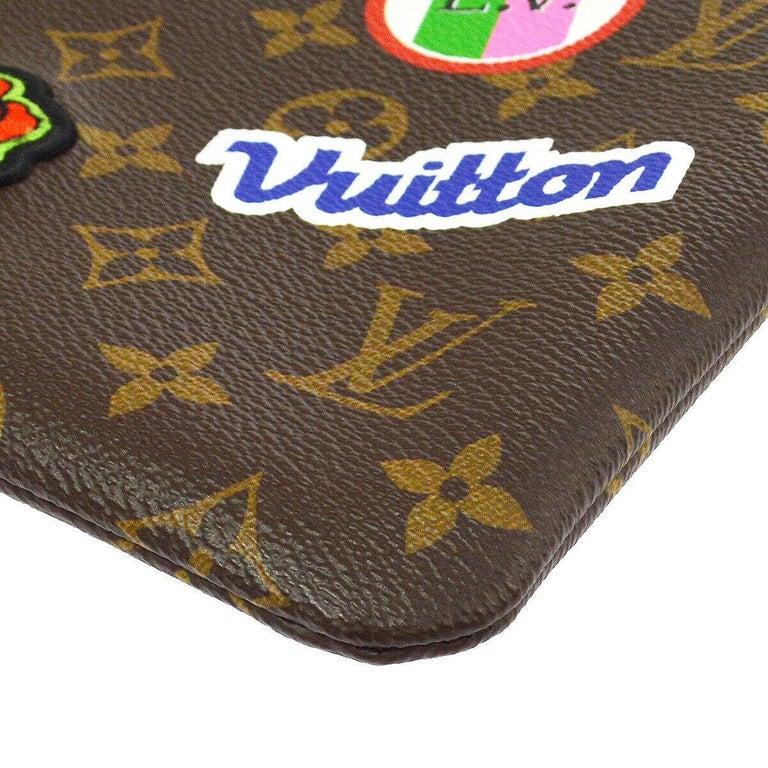 Women's Louis Vuitton NEW Monogram Patch Sticker Envelope Pouch Clutch Wristlet in Box