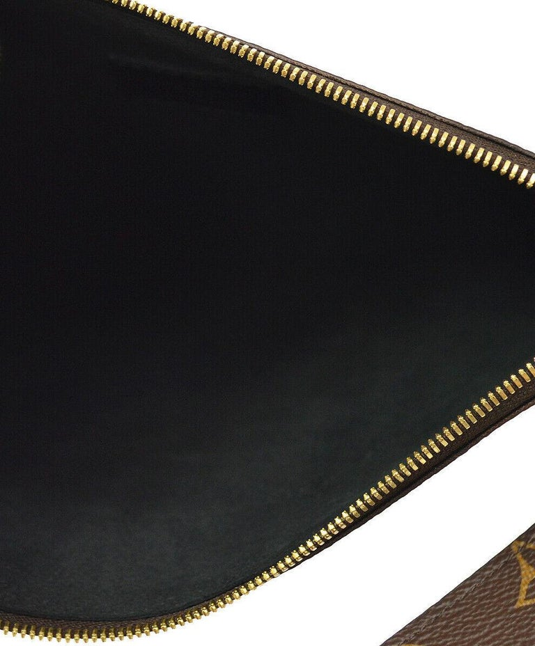 Louis Vuitton NEW Monogram Patch Sticker Envelope Pouch Clutch Wristlet in Box 1