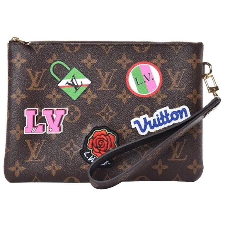 Louis Vuitton NEW Monogram Patch Sticker Envelope Pouch Clutch Wristlet in Box