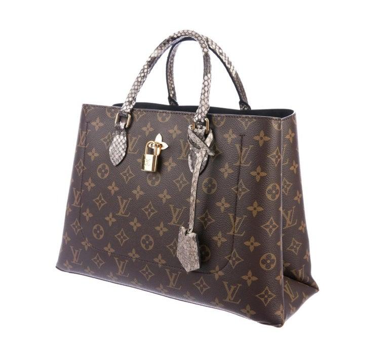 Black Louis Vuitton NEW Monogram Snakeskin Exotic Travel Top Handle Satchel Tote Bag For Sale