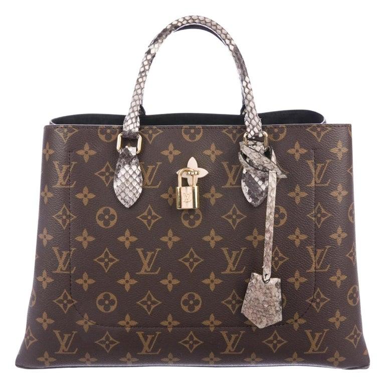 Louis Vuitton NEW Monogram Snakeskin Exotic Travel Top Handle Satchel Tote Bag For Sale