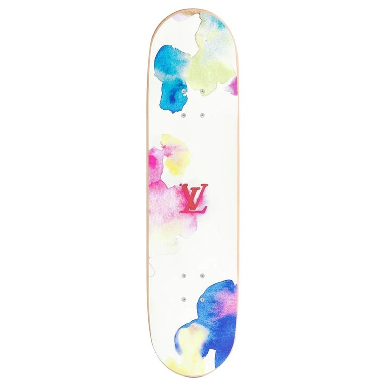 Louis Vuitton NEW Multicolor Rainbow Wood Aluminum Novelty Skateboard in Box For Sale