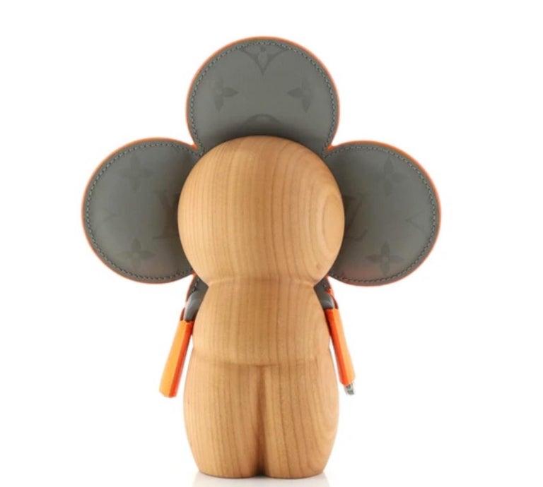 Brown Louis Vuitton NEW Orange Gray Monogram Figurine Decorative Bear Toy in Box For Sale